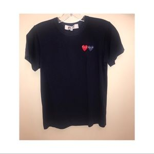 Navy & red twin hearts womans t-shirt